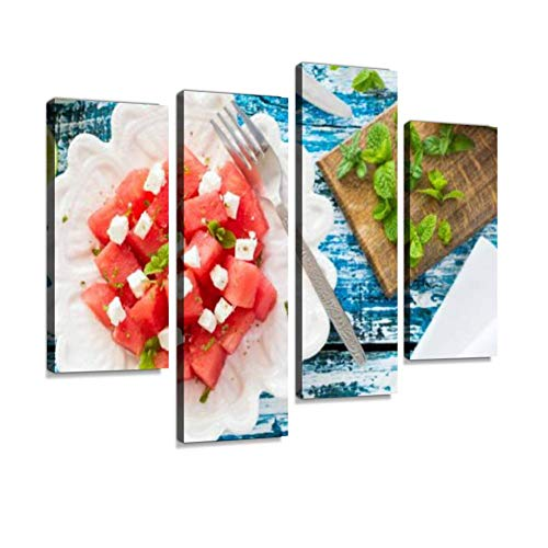 Watermelon and Feta Salad Canvas Wall Art Hanging Paintings Modern Artwork Abstract Picture Prints Home Decoration Gift Unique Designed Framed 4 Panel