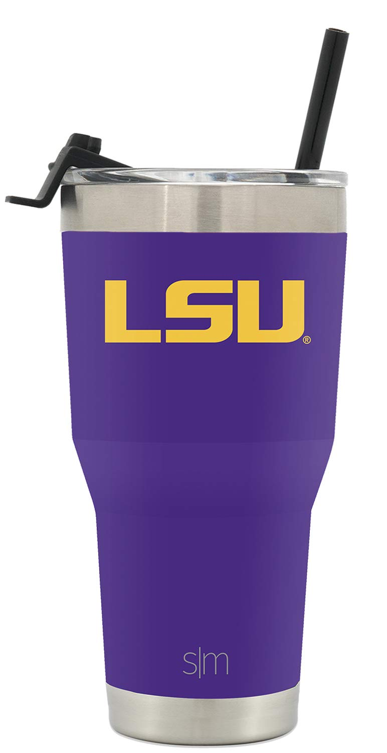 Simple Modern College 30oz Cruiser Tumbler with Straw & Closing Lid - LSU Tigers - 18/8 Stainless Steel Vacuum Insulated NCAA University Cup Mug by Simple Modern