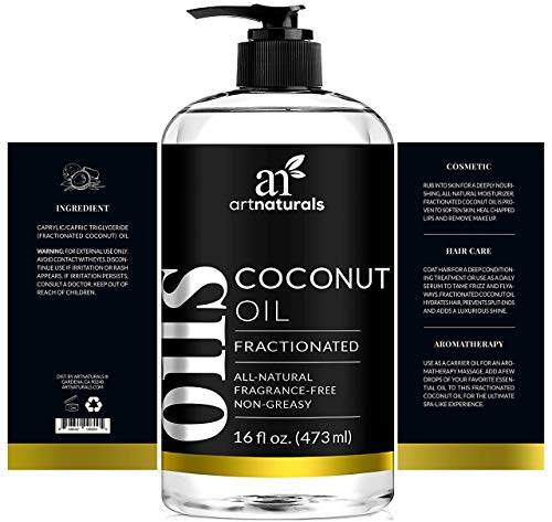 ArtNaturals Premium Fractionated Coconut Oil - (16 Fl Oz / 473ml) - 100% Natural & Pure - Therapeutic Grade Carrier and Massage Oil - for Hair and Skin or Diluting Aromatherapy Essential Oils
