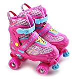 The Magic Toy Shop Kids Adjustable 4 Wheel Quad Roller Skates Boots Childrens Rollers (Pink, Small/UK 11-1)