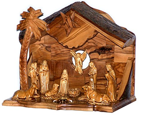 - Holy Land Market Musical Olive Wood Nativity Set with Rustic Stable (Bark Roof) - Glued Alabaster Pieces (8 Inches)