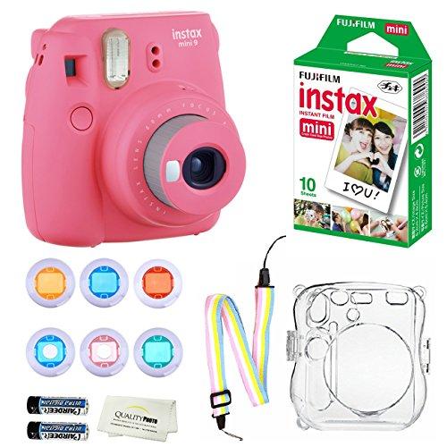 Fujifilm Instax Mini 9 Instant Camera (Flamingo Pink) + 10 Fuji Instant Film Sheets + Convenient Instax Clear Case W/Rainbow Strap + 6-Color Lenses & More