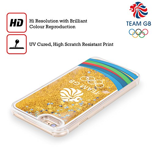 Official Team GB British Olympic Association Fluid Bands 3 Rio Gold Liquid Glitter Case Cover for Apple iPhone 5c