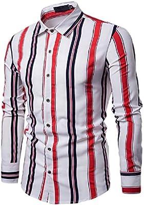 Alion Men Button Down Shirt Long Sleeve Slim Fit Vertical Striped Shirt
