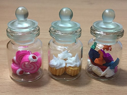 3 pc Miniature Cake Food Candy Cookie Dollhouse Cake Donut in Clear Glass Mini Bottle fruit Food #MF013 (Clear Three Light Candlestick)