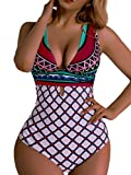OGNEE Women Sexy Deep V-Neckline One Piece Swimsuit High Waisted Bathing Suit (XL, Rose)