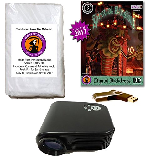 Spectral Illusions DIGITAL BACKDROPS Compilation Video Projector Kit on USB with Reaper Brothers Rear Projection Screen. -
