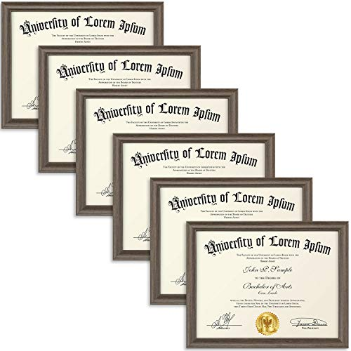 (Icona Bay 8.5x11 Diploma Frame (6 Pack, Hickory Brown), Certificate Frame, Document Frame, Composite Wood Frame for Walls or Tables, Set of 6 Lakeland Collection)