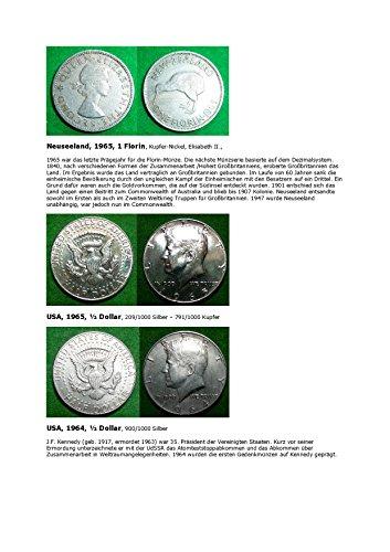 Kalenderblatt zum Jahr 1965: Übergang beim ½ Dollar vom Silber zum Billon (Ein Florin Neuseeland 1965 und ½ Dollar USA 1964 und 1965) (German Edition)