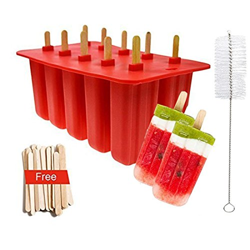 Popsicle Molds Food Grade Silicone Frozen, Frozen Popsicle Mold, Ice Pop Cream Maker, set of10, BPA Free, Includ 50 Wooden Sticks & Cleaning Brush ()