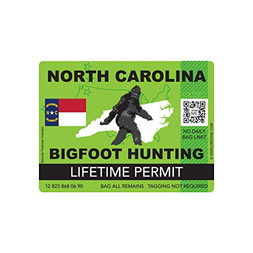 North Carolina Bigfoot Hunting Permit Sticker Die Cut Decal Sasquatch Lifetime FA Vinyl