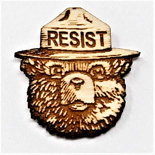 Smokey the Bear RESIST Wood Hat Pin | Anti-Trump Statement | Alt US National Park Service Pin | Resist Fascism Activism Brooch