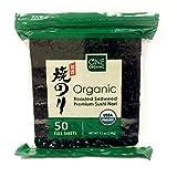 Organic Sushi Nori Premium Roasted Organic Seaweed - 50 Sheets (4.5 oz)