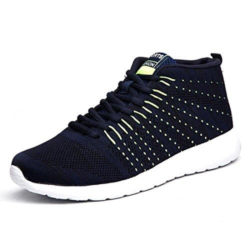 Der Sport-Schuhe der Frühlingsmänner, die zufällige Schuhe der fliegenden Gewebe laufen lassen, laufen atmungsaktive Flutschuhe blue green (chinese gang)