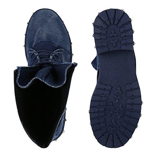Classiques Femme Foncé Bottines Stiefelparadies Bleu qCvwx1B