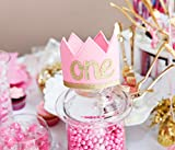 """First Birthday Baby Girl Pink and Gold """"ONE"""" Sparkly Party Crown"""