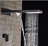 GOWE Modern 22'' Oil Rubbed Bronze Waterfall Rain Shower Head Single Handle Mixer Tap