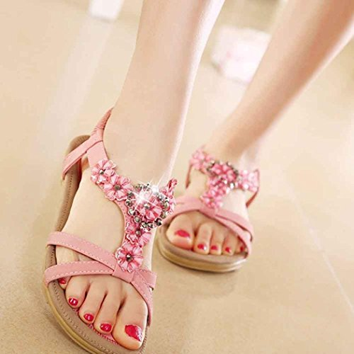 Fashion Summer Bohemian Sweet Inkach® Flats Beaded Pink Toe Womens Sandals Women Sandals z5XSWwxSqI