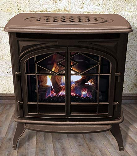 Thelin Echo Direct Vent (NG) Natural Gas or (LP) Propane Heater - Cast Iron Painted in Honey Glo Brown ()