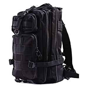 HDE Military Tactical Backpack Expandable Lightweight 20L MOLLE Outdoor Rucksack Hiking Camping Combat Travel Bag (Black BDU)