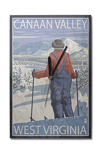 Canaan Valley, West Virginia - Skier Admiring View (10x15 Wood Wall Clock, Decor Ready to - Virginia Valley View