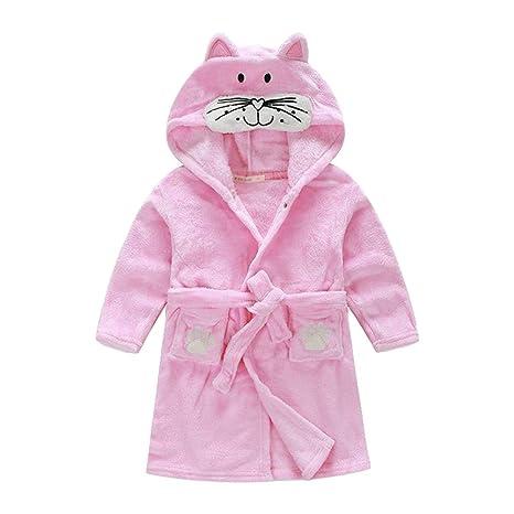 YeahiBaby Niños con capucha Albornoz Felpa Vellón Gatito Albornoz Pijamas Niños Ropa de dormir Bath Gatito