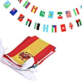 Anley 100 Countries String Flag, International Bunting Pennant Banner, Decoration for Grand Opening, Sports Bar, Party Events - 82 Feet 100 Flags