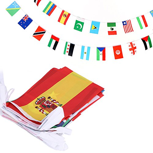 Anley 100 Countries String Flag, International Bunting Penna