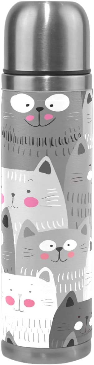 Wamika Cat Smiling Vacuum Insulated Stainless Steel Water Bottle, Cute Funny Cats Kitty Kitten Sports Coffee Travel Mug Thermos Cup Genuine Leather Cover Double Walled BPA Free 17 Oz