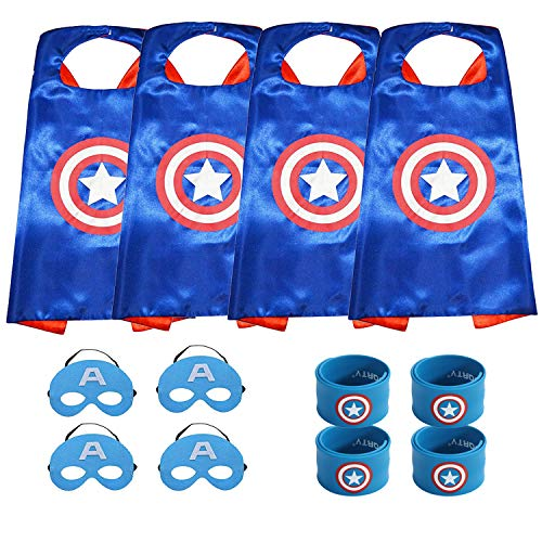 Set 4 Bonus - Munfa Superheros Cape and Mask Costumes 4 Set Includes Bonus Matching Wristbands for Kids (Multicolored) (Multicolored) (Boy, Captain America)