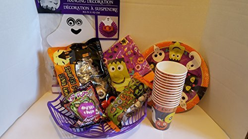 Halloween Party Favor Bundle Pack - 70 pieces - Assorted Halloween Cups, Halloween Party Plates,Spider Bowl For Candy, Googly Eye Chocolate Candy,Halloween Napkins, Fun Gummy Rings by (Halloween Cups And Plates)