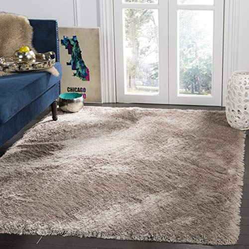 Safavieh Paris Shag Collection SG511-1002 Beige Polyester Area Rug (8' x 10') ()