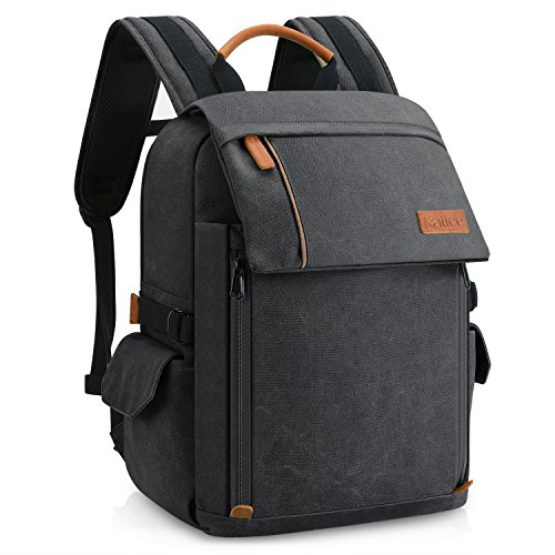 Kattee Professional Canvas Camera Bag Travel Backpack Rucksack with Rain Cover (Gray)