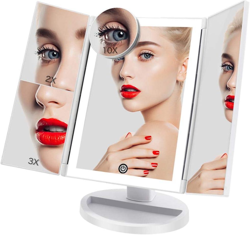 Espejo Maquillaje con Luz 3 Modos Iluminación Colores,72 Leds Tríptica Aumentos 3X, 2X,1x Magnetismo Extraíble Espejo 10X Rotación 180° Espejo de Maquillaje Carga con USB o Batería (Blanco)