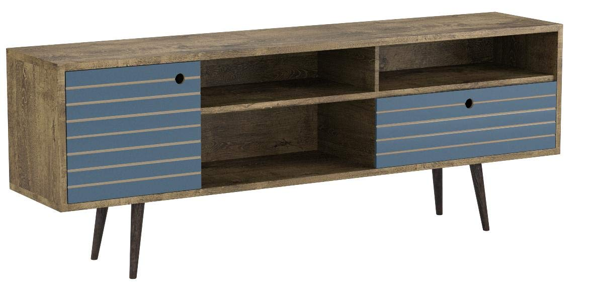 Manhattan Comfort Liberty Collection Mid Century Modern TV Stand With Three Shelves, One Cabinet and One Drawer With Splayed Legs, Wood/Blue by Manhattan Comfort