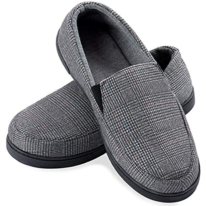 ZIZOR Men's Henry Tartan Slippers with Memory Foam, Cotton Knit House Slippers for Men Slip On, Lightweight Closed Back House Shoes with Indoor Outdoor Anti-Skid Rubber Sole