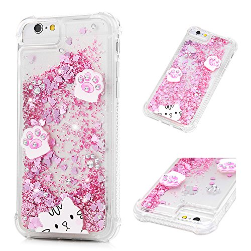 iPhone 6/iPhone 6S Case,Mavis's Diary Bling Glitter Sparkle Flowing Liquid Quicksand Moving Sequins Painted Unicorn Flower Protective Hard PC Back Cover with Soft TPU Rubber Frame (Cat's paw) (Sparkle Cat)