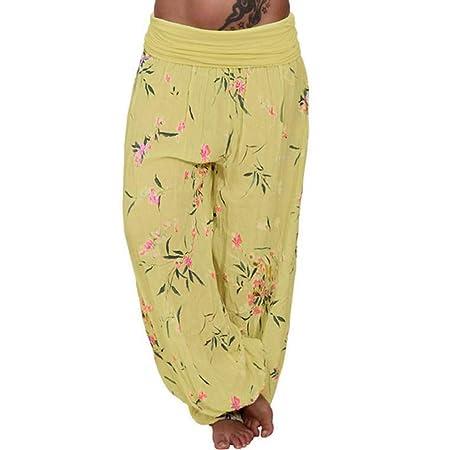 c926b2da8ccc7 Women Ladies Floral Printed Full Length Baggy Boho Hippy Loose Fit Harem  Aladdin Casual Stretchy Trousers Pants Leggings Bottoms Plus Size   Amazon.co.uk  ...