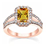 TVS-JEWELS New Style 14K Rose Gold Plated 925 Silver Solitaire with Accents Ring (7.75)
