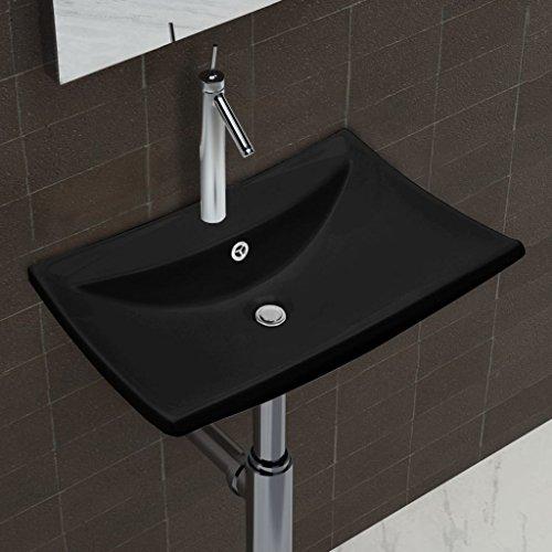 Bathroom Sink Black Luxury Ceramic Basin Rectangular Bathroom Sink with Overflow and Faucet Hole Basin Sink by Chloe Rossetti