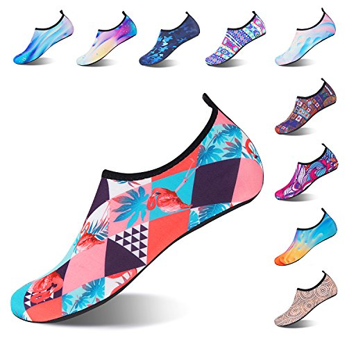 Strandschuhe Badeschuhe Schwimmen Aqua Barfuß Wassersport Yoga Schuhe Leicht Rutschfeste für Damen Herren Flamingo