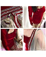 Clothfab Women's Velvet Embroidered Salwar Suit (Red-Colour)