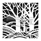 The Crafter's Workshop Set of 2 Stencils - Tree Paradise - 12x12 Large and 6x6 inch Mini - Includes 1 each TCW777 and TCW777s - Bundle 2 Items