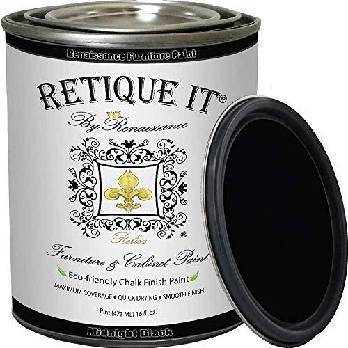 Retique It Chalk Furniture Paint by Renaissance DIY, 16 oz (Pint), 08 Midnight Black