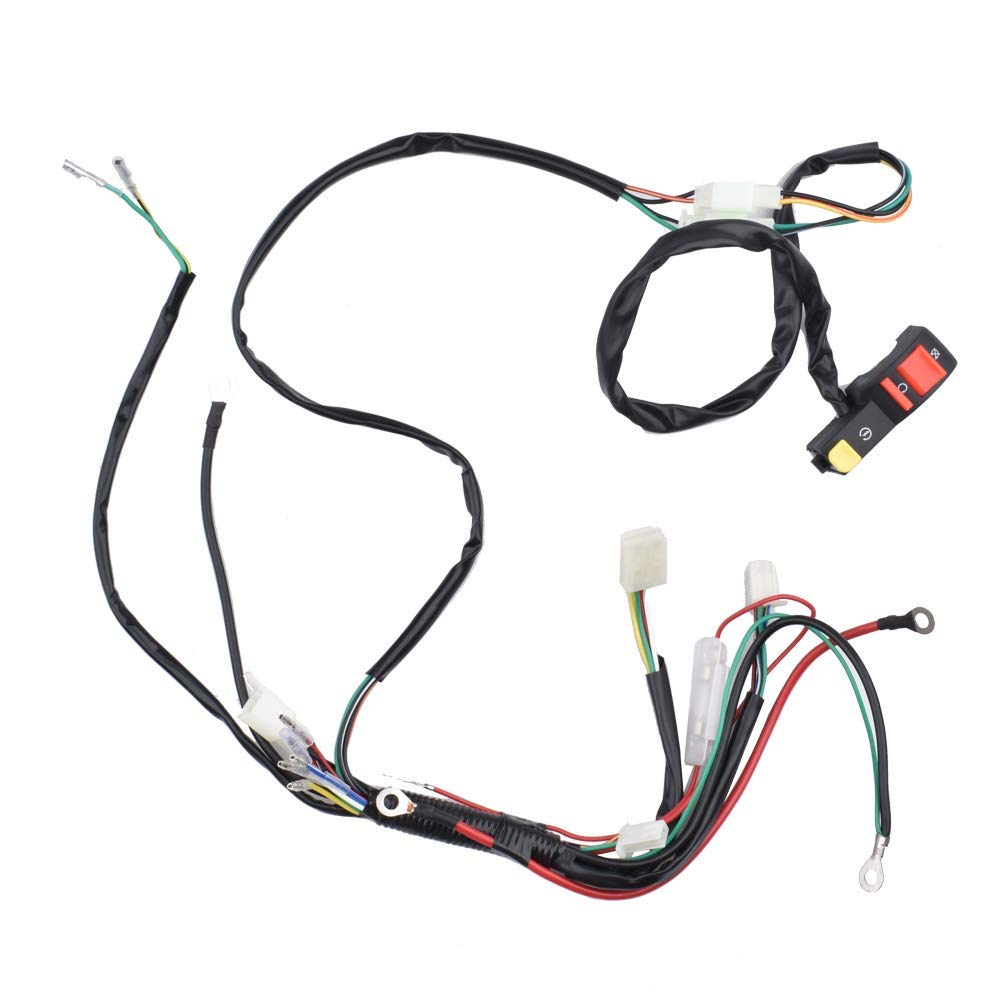 Facaing Complete Electric Start Engine Wiring Harness CDI Coil Wiring Loom 50cc 110cc 125cc ATV Buggy Quad Dirt Bike