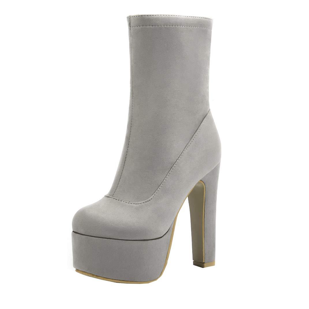 YE Chaussures Bottes B06XJ3YMC8 Chaude Chunky Winter Ankle Gris Boots Cuir Bottines Hiver Femme Talon Plateforme Haut Bloc Chunky Heels Courtes Zip Gris 17b541d - reprogrammed.space