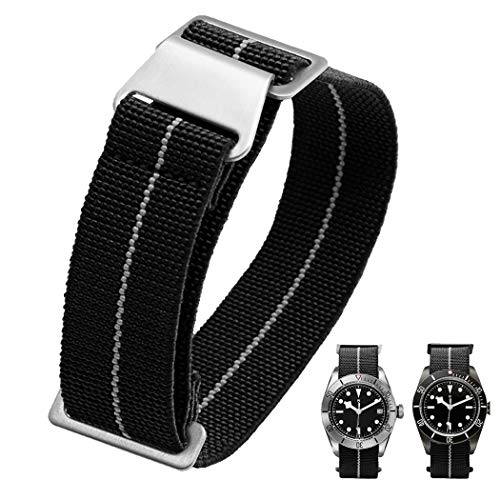 - 60's French Troops Parachute Special Elastic Nylon Watch Band Man's Universal Nylon Strap Army-Green 20/21/22mm (20mm, Black)