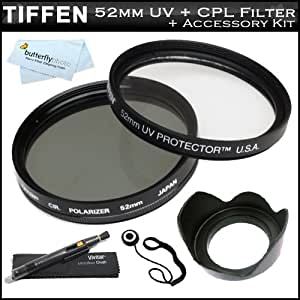 Tiffen 52mm Circular Polarizer Filter + Tiffen 52mm UV Protection Filter For Canon EF 135mm f/2.8 with Softfocus Telephoto Lens for Canon SLR Cameras + 52mm Lens Hood + Lens Cap Keeper + Lens Pen Cleaning Kit + MicroFiber Cleaning Cloth