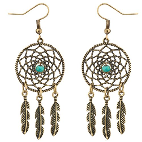 Lux Accessories Dreamcatcher Leaf Tribal Synthetic Turquoise Stone Dangle -