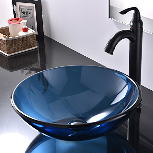 Best Tempered Glass Above Counter Round Lavatory Bathroom Vessel Sink, Faucet, Drain and Mounting Ring Are NOT Included